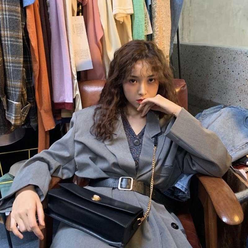 NiceMix Coats Vintage Korean Style New Loose Autumn Winter Women's Clothing Fashion Brand Hipster Sashes Full Sleeve Jackets Hot
