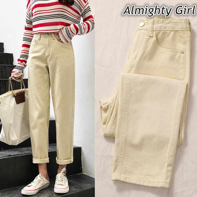 Mom Jeans Cintura Alta Vintage Ladies Boyfriend Jeans For Women Loose Fashion Wide Leg Pants Off White Black Feminina Trousers21 Aliexpress