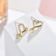 Luxury Zircon Crystal heart earrings for women silver jewelry