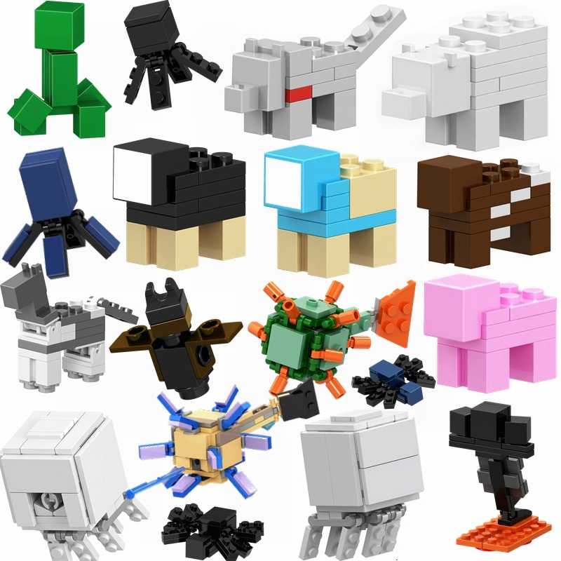 Legoing Minecrafte Guardião Meu Mundo Animais Steve Zombie Figuras Modelos Building Blocks Toy Para Kid Legoings Animal Minecrafted
