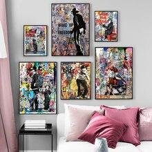 Banksy graffiti rua coleção de arte siga seu sonho sorriso abstracto pintura em tela poster impressões arte da parede imagem de casa decoração