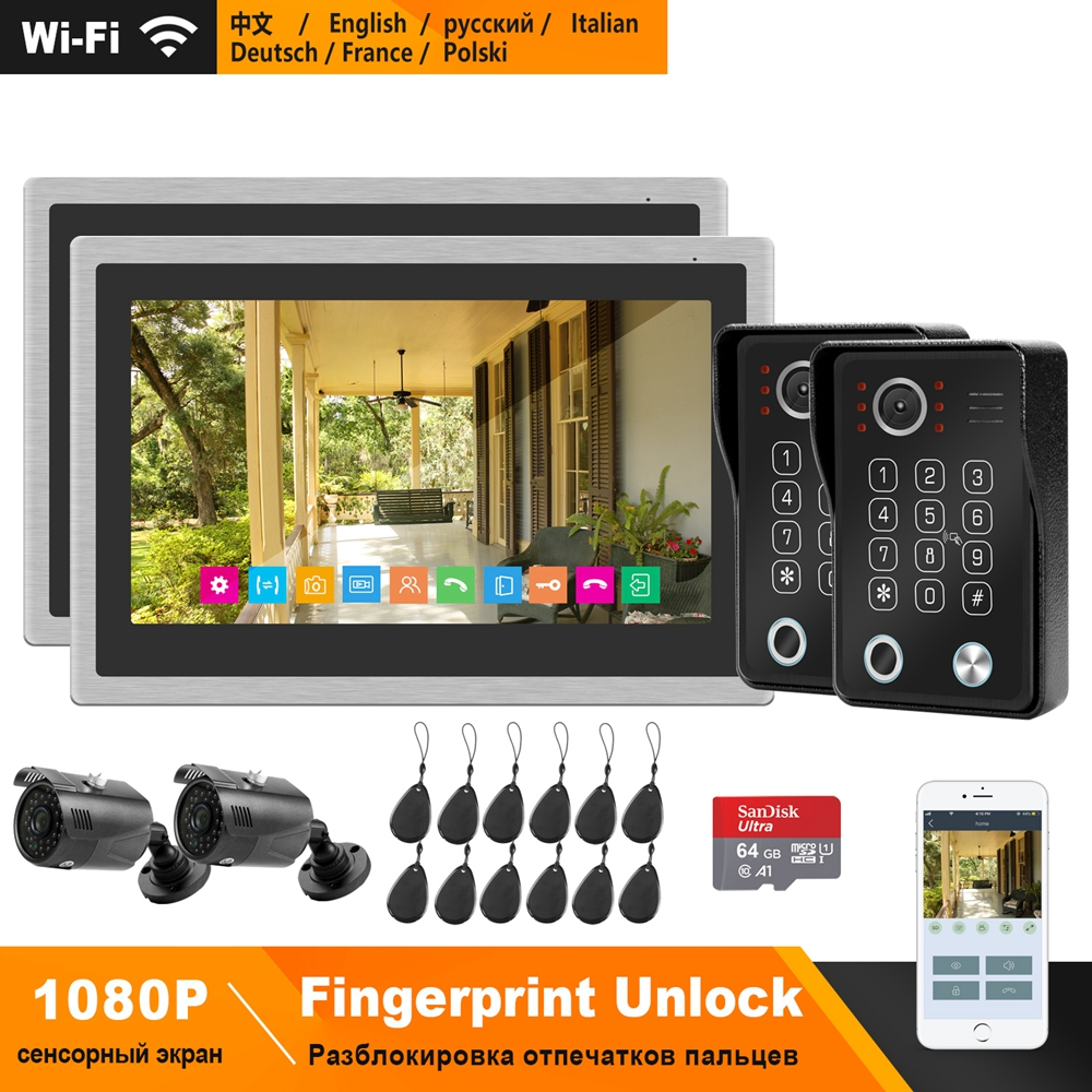HomeFong WiFi Video Intercom System Kit IP Video Door Phone Fingerprint Unlock Doorbell 1080P Camera 10inch Touch Screen Monitor