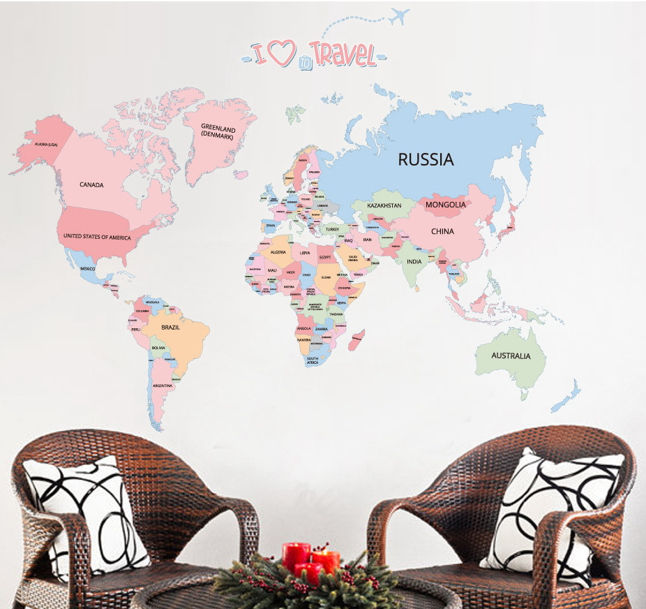 Bedroom Decoration Big World Map Wall Stickers Decorative Stickers World Children Education Map