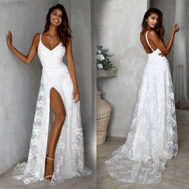 BacklakeGirls Sexy V Neck Sling Brush Train White Wedding Dress Elegant Floor Length Lace Gowns Robes De Soiree Dentelle 2019