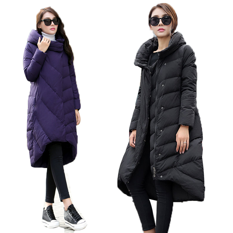 Down European Coat Winter Jacket Women Long Loose Plus Size XXXL Stand Collar Parkas Ultra Warm Manteau Femme Stand Collar XC025