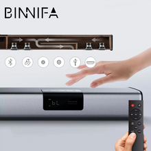 Youpin BINNIFA-altavoz de cine en casa, barra de Sonido de TV de pared Echo, DSP, 40W, pantalla táctil LED, Bluetooth, USB, óptico, de madera
