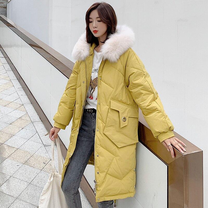 Winter   Down     Coats   Female 2019 Fashion Fur Collar   Down   Jacket   Coat   Womens Long Warm Hooded White Duck   Down     Coat   Ladies Jacket