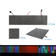 Ws2812b led פיקסלים אור רצועת 8x8 16x16 8x32 ws2812 נוריות פנל פיקסל מסך RGB מיעון בנפרד רצועות כתובת מנורת 5V