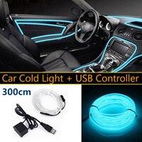 5V USB Transparent Blau LED Licht Glow EL Draht Saiten Streifen Auto Innen Dekore