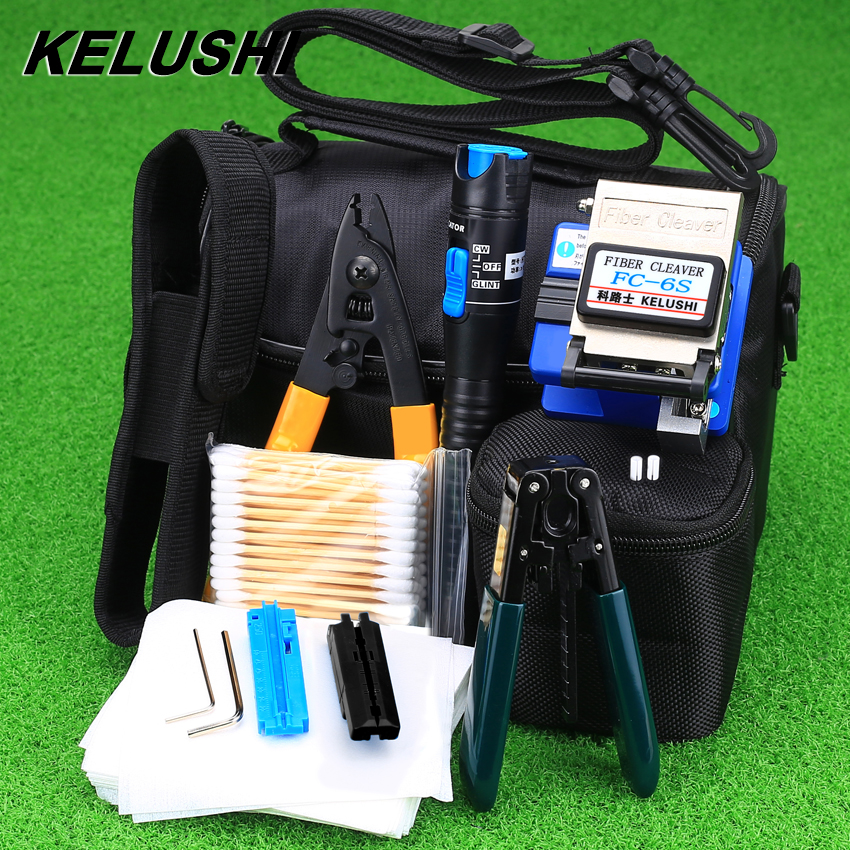 KELUSHI 13 Pcs/Set FTTH Fiber Optic Tool Kit With FC-6S Cleaver And Plastic 5mW Visual Fault Locator Wire Stripper Tool