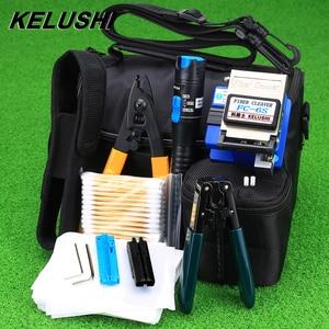 Image 1 - KELUSHI 13 Pcs/Set FTTH Fiber Optic Tools Kit with FC 6S Cleaver and Plastic 5mW Visual Fault Locator Wire Stripper Tool