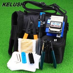 Image 1 - Kelushi 13ピース/セットftth光ファイバツールキットとFC 6Sファイバークリーバーおよびプラスチック5 10mwの視覚障害ロケータワイヤーストリッパーツール
