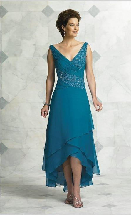 V Neck Pleated Beading Tea Length High Low Turquoise Women evening Party Prom gown 2018 Elegant Mother Of The Bride Dresses