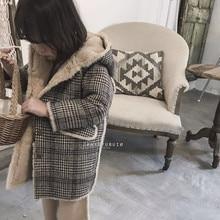 Girl's Winter Coat Plaid Hoodie Plus Velvet Plus Thicken Baby Girl Warm Coat Kid