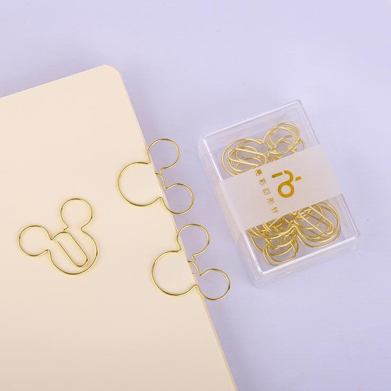 12 Pcs/pack Cartoon Animal Mouse Shape Hollow Metal Paper Clips Bookmark Gold Photo Memo Message Clips Stationery Gifts
