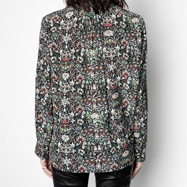 V-neck Shirt Women Long Sleeve Floral Printing Loose Blouse and Top 2021 Spring 2
