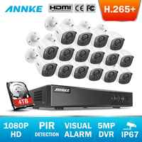 ANNKE 16CH 5MP Lite H.265+ 5in1 CCTV DVR 16PCS 1080P Security Camera PIR Detection Outdoor Camera Home Video Surveillance System