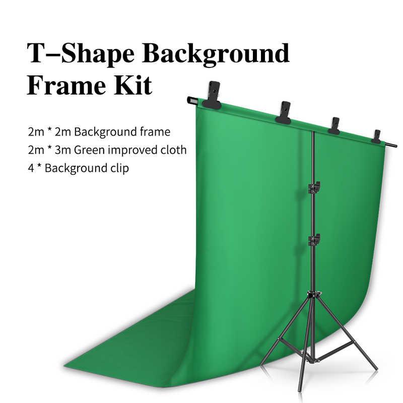 2 متر * 2 متر التصوير خلفية T-شكل خلفية حامل داعم نظام خلفيات معدنية مع 2 متر * 3 متر خلفية ل استوديو الصور