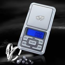 Waga cyfrowa Mini 100/200/300/500g 0.01/0.1g wysoka dokładność podświetlenie kieszeń elektryczna na biżuterię Gram waga do kuchni