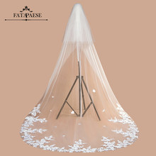 2021 New Design 3M Lace Edge Cathedral Wedding Veil With Comb 3D Flower One Layer Long Tulle Veil Bridal Voile White Ivory Welon