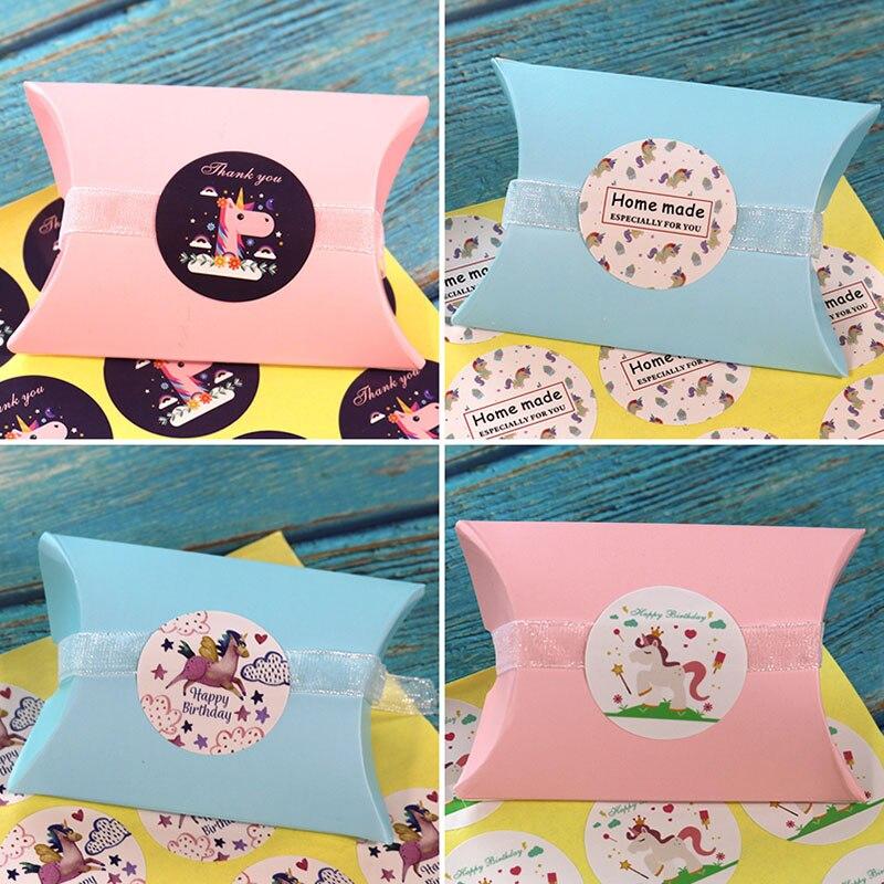 12 шт Единорог запечатывание этикеток Наклейка С Днем Рождения наклейка «спасибо» самодельная бумажная наклейка для выпечка в подарок деко...