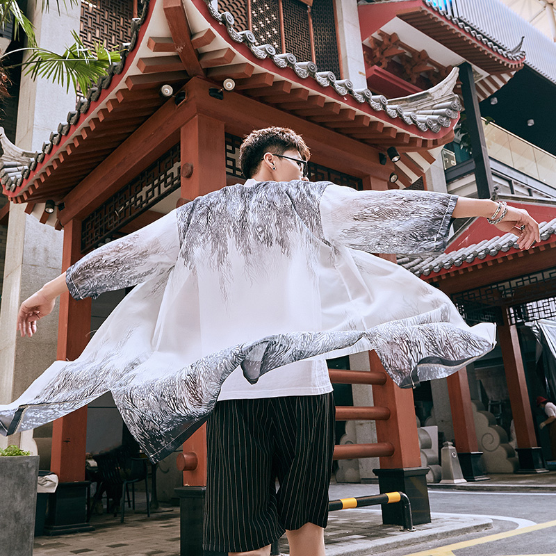 2019 Japanese Kimono Men Long Robe Cardigan Kimono Chinese Tang Set National Costumes Loose Traditional Japanese Kimonos SL1311