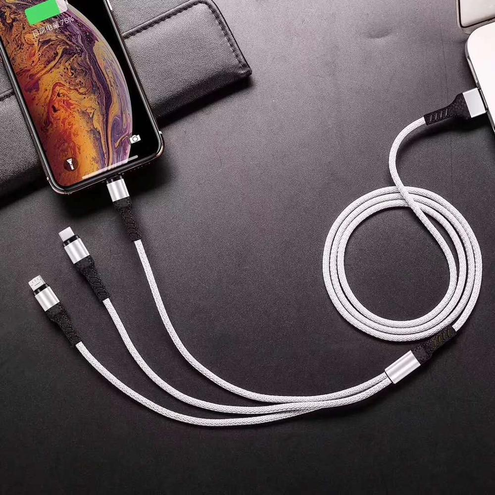 New fast charging USB 3 in 1 Cable USB TypeC Mobile Phone For Samsung S9 for xiaomi mi9 redmi Charging Charger Micro USB  Cable-in Mobile Phone Cables from Cellphones & Telecommunications on AliExpress