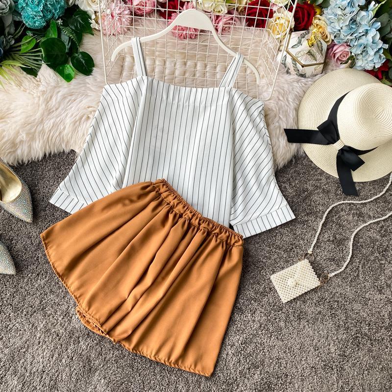 ICHOIX Striped Shirt + Shorts Women 2 Piece Set Casual Tops And Shorts Set Summer 2 Piece Beach Outfits Off-shoulder Blouse
