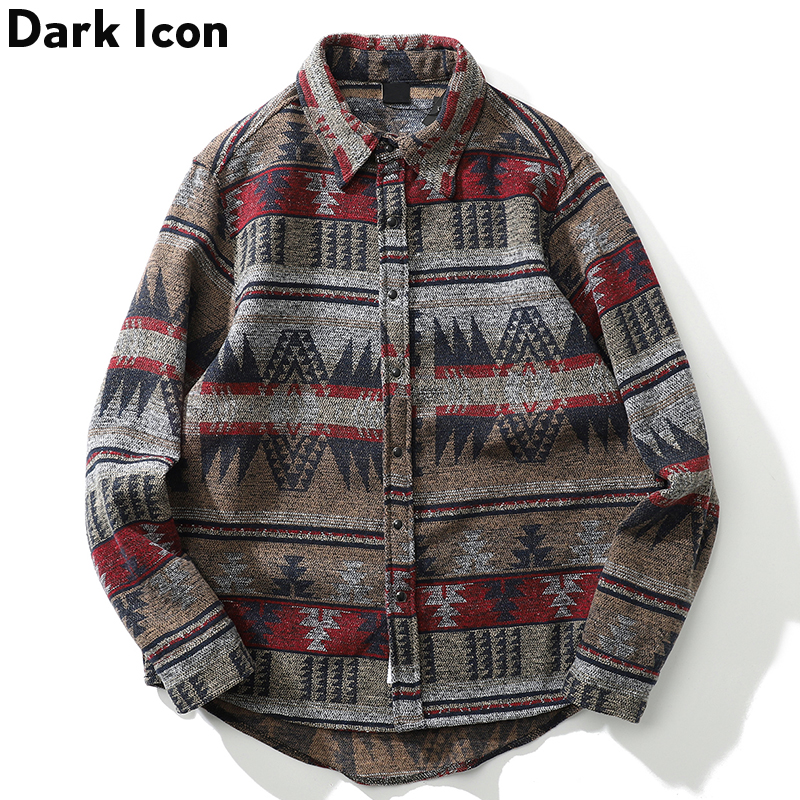 Dark Icon Geometric Stripe Shirts Men Women Long Sleeve Harajuku Woolen Shirts Men Clothing
