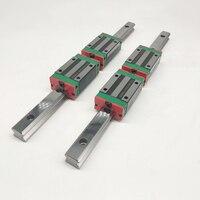 2pcs linear rail guides HGR20 HGH20 550/1500mm +4pcs Slide Block Carriages HGH20CA/flang HGW20CC guides cnc