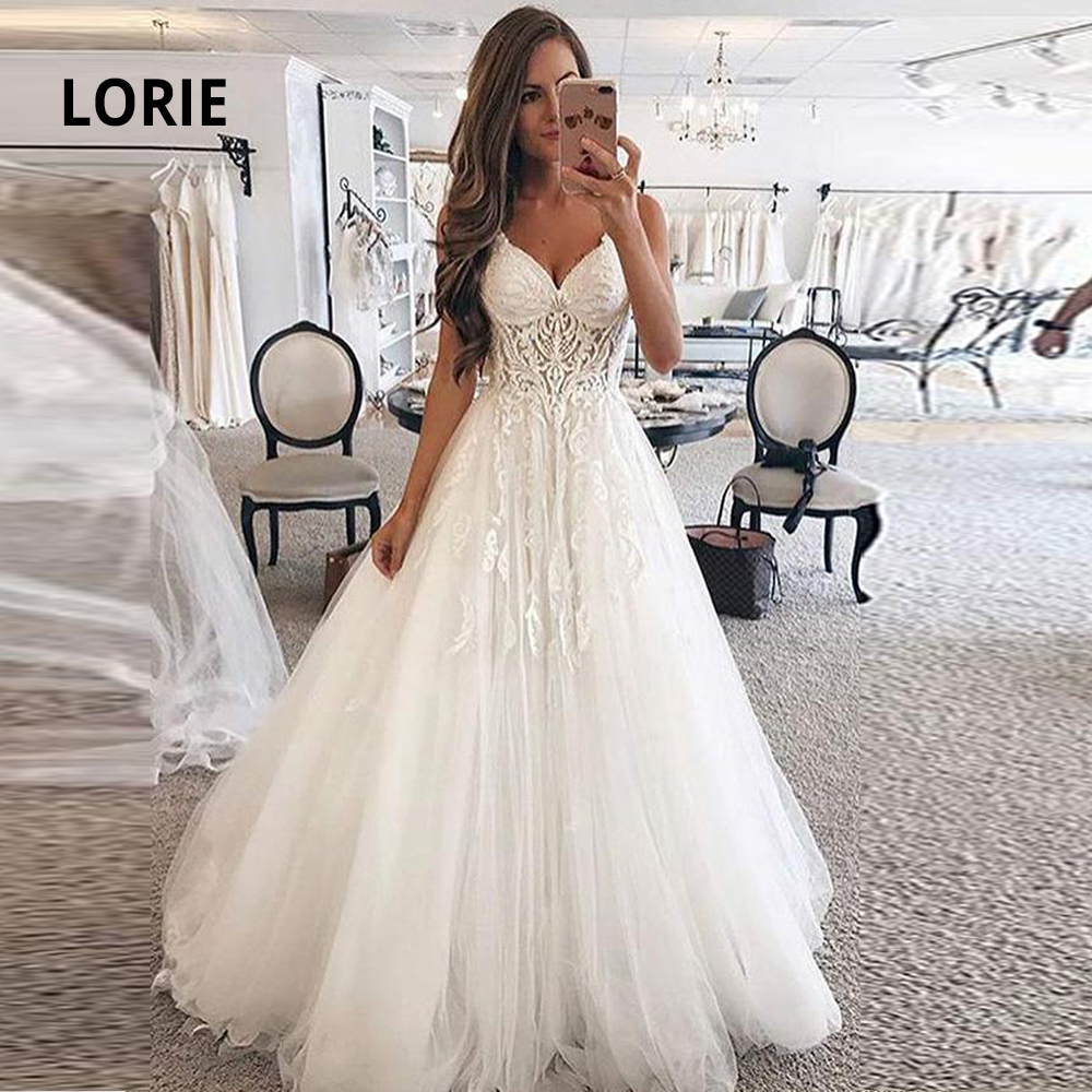 LORIE Elegant Lace Ball Gown Wedding Dresses For Women Soft Tulle Open Back Sleeveless Bridal Gowns Custom Made Plus Size