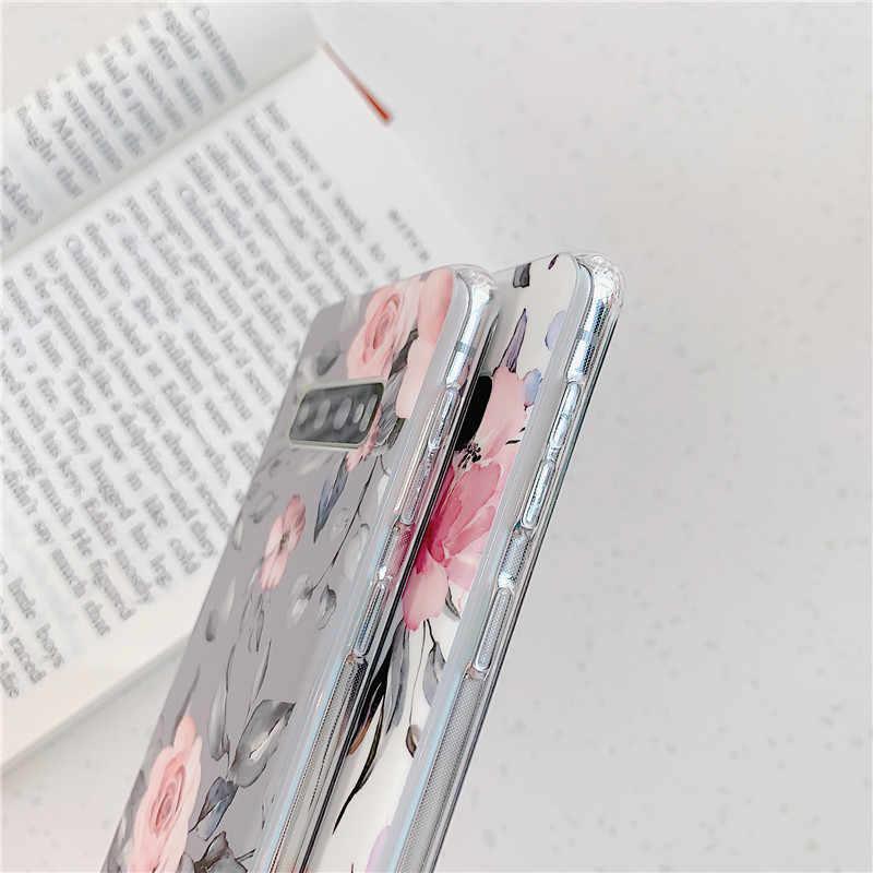 Vintage çiçek ve yaprak telefon samsung kılıfı Galaxy A50 A40 A70 S10e S10 artı S8 S9 artı çiçek yumuşak IMD arka kapak coque hediyeler