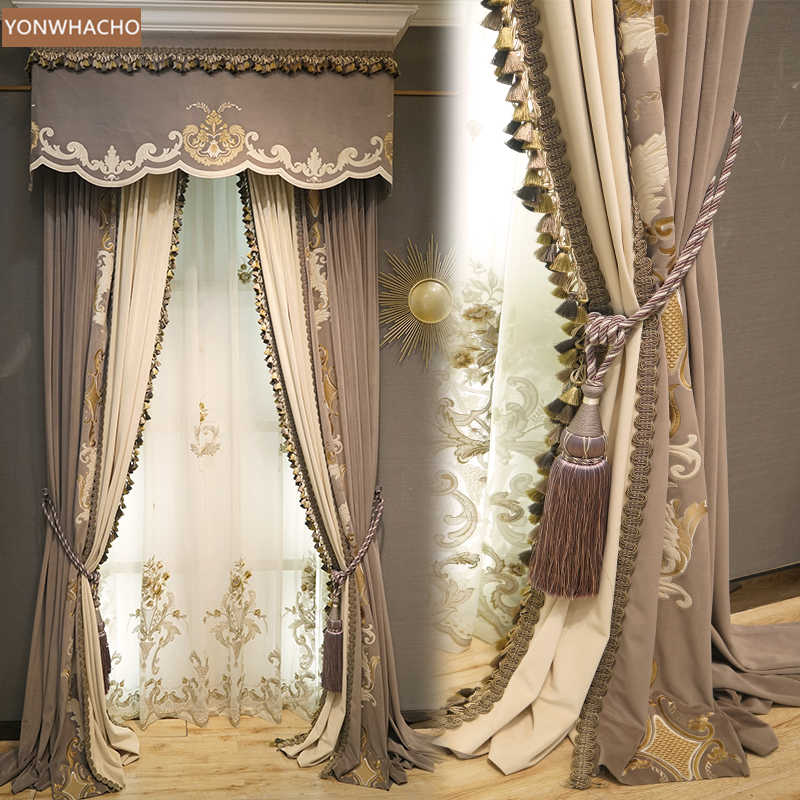 new embroidery livingroom coffee cloth blackout curtain valance tulle panel C019