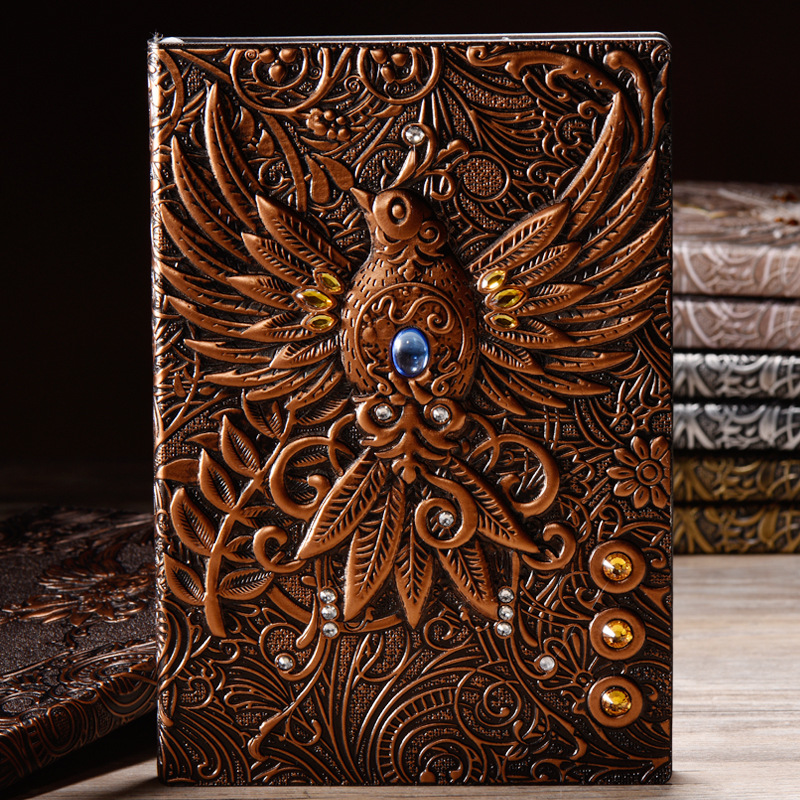 Retro Vintage PU Planner 3D Birds Thick Diary Collection Old Fashion Craft Ruled Paper Creative Gifts