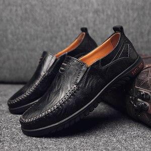 Image 4 - ของแท้หนังผู้ชายรองเท้าสบายๆหรูหรายี่ห้อDesigner Mens Loafers Breathable SLIPบนรองเท้าขับรถรองเท้าพลัสขนาด 37 47