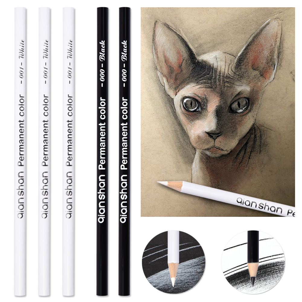 White Black Sketch Pencil Watercolor Pencil Art Set,Watercolor, Drawing,art Hand-painted  Brush High Light Student Professional