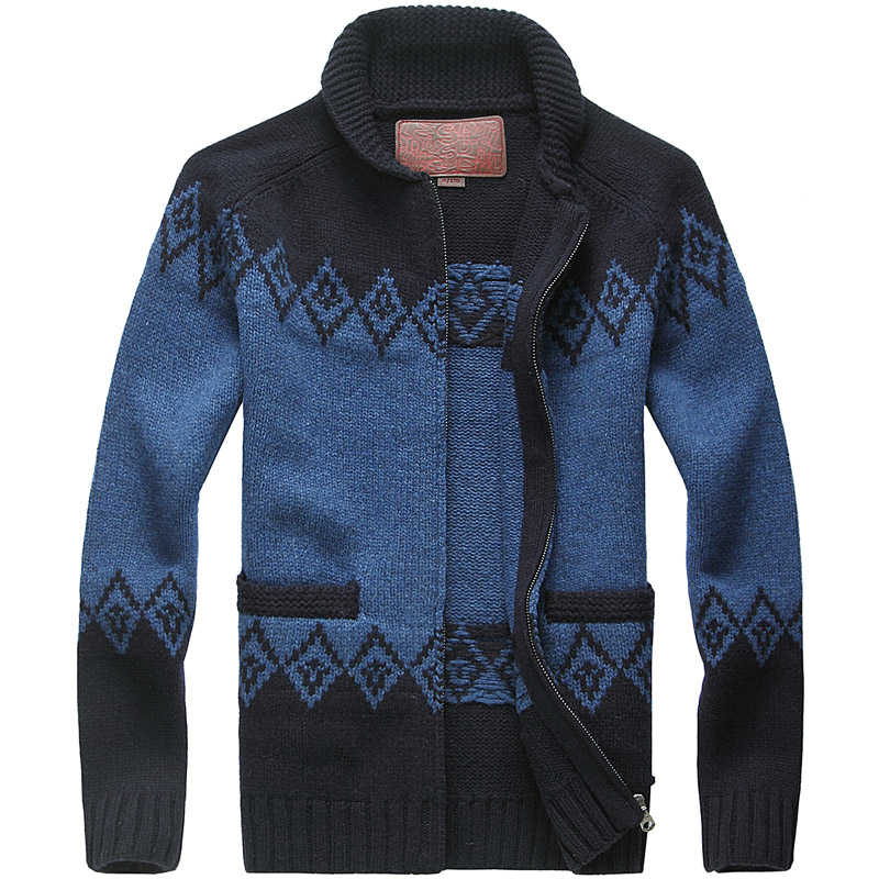 Muls 럭셔리 울 코트 남자 카디건 다이아몬드 아가일 겨울 두꺼운 무거운 니트 카디건 스웨터 자켓 남자 80% 울 20% 아크릴