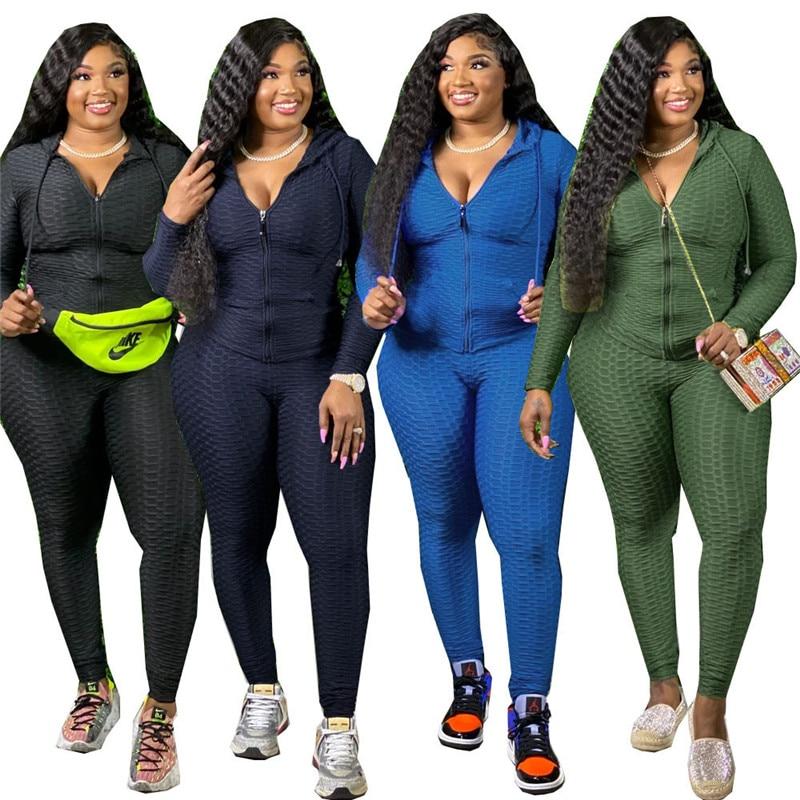Размера плюс одежда XL-5XL из двух частей комплект женский спортивный костюм Толстовка карман на молнии штаны Зимняя одежда; Оптовая продажа; ...