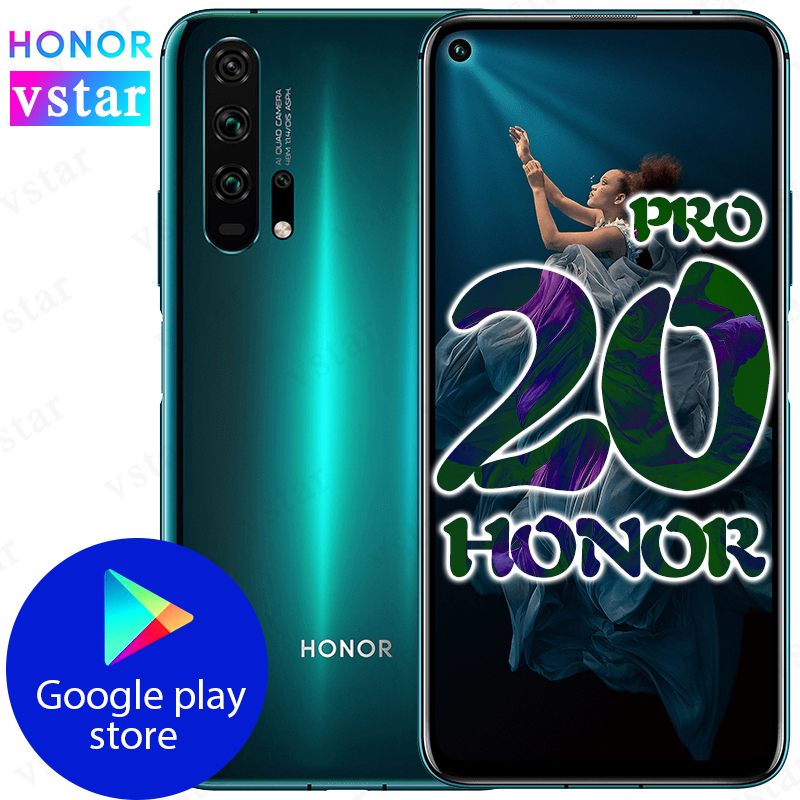 Original HONOR 20 PRO Mobile Phone 6.26 Inch 8GB 128GB Kirin 980 Octa Core Android 9.0 4000mAh Support Google Play NFC