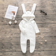 Spring Autumn Fashion Casual Jumpsuits Baby Solid Color Long Sleeve Romper Kids Hooded Footies