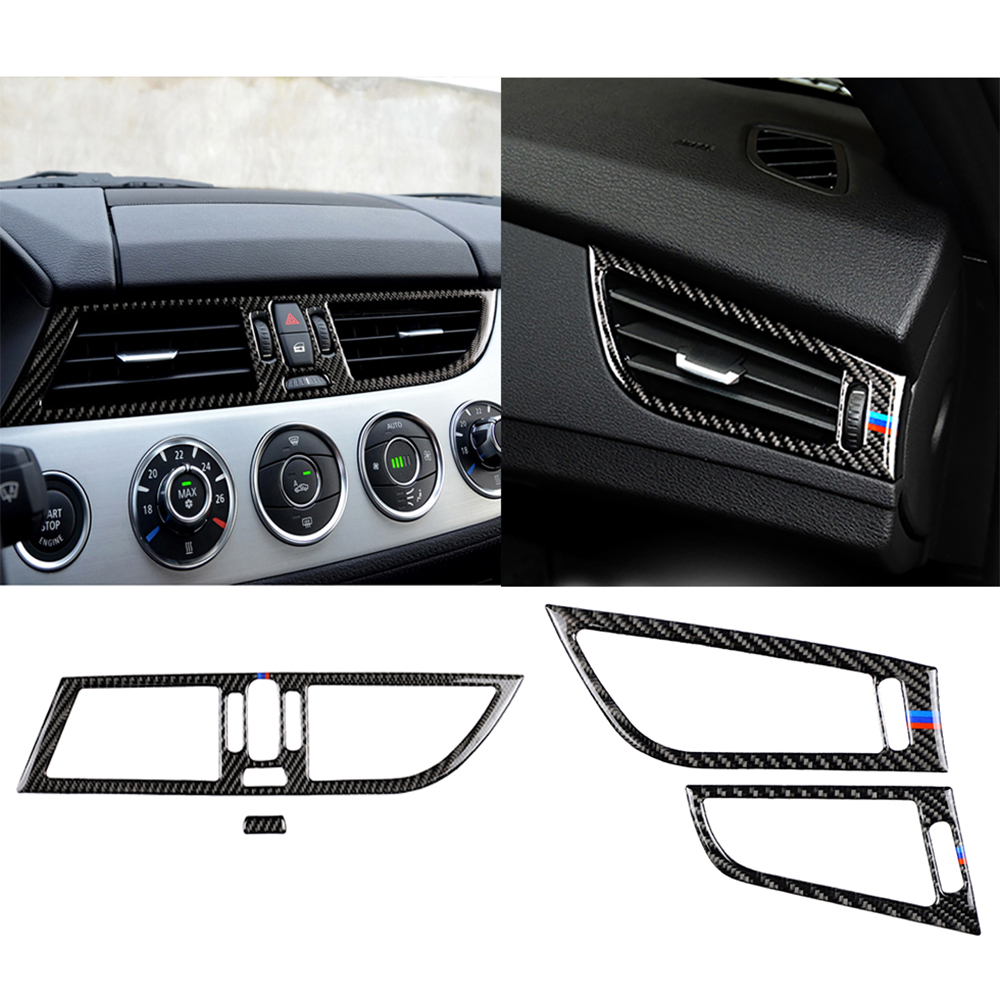 Interior Carbon Fiber Stickers Classic Car Accessories Side Air Outlet Trim Frame Styling Cover For BMW Z4 E85 E89 2009-2015