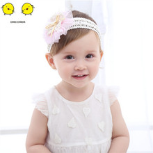 3-36Months Baby Flower Girls Pink Ribbon Hair Bands for Kids Headbands Turban Newborn Accessories