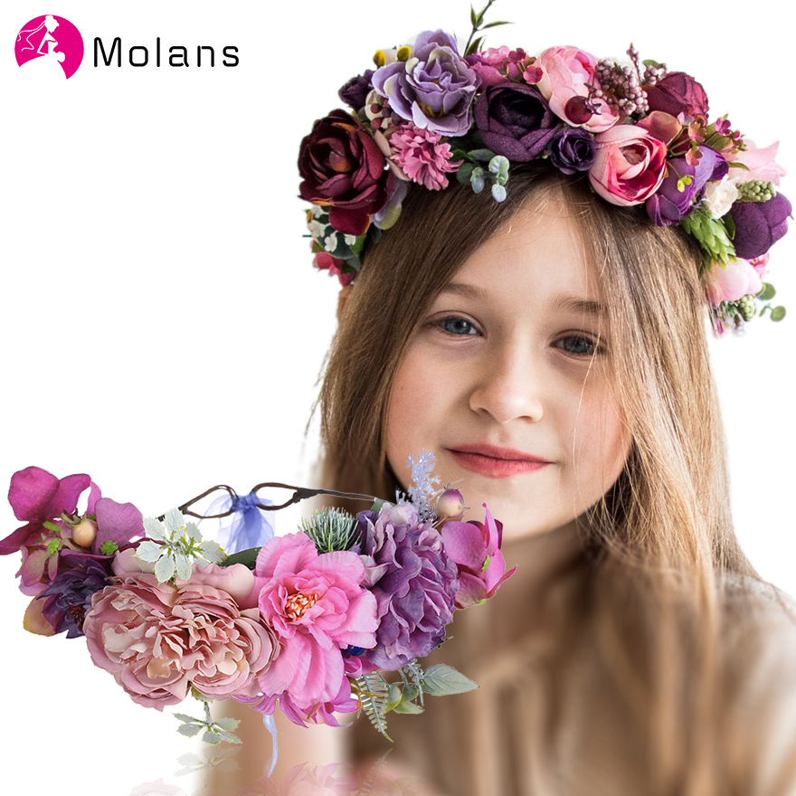 MOLANS Faux Rose Flower Crowns For Braids Natural Berries Lovely Small Floral Garlands For Women Wedding Party Spring New Wreath