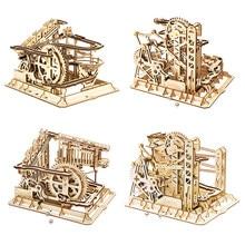 Robotime ROKR blocs marbre course course labyrinthe balles piste bricolage 3D en bois Puzzle caboteur modèle Kits de construction jouets pour livraison directe