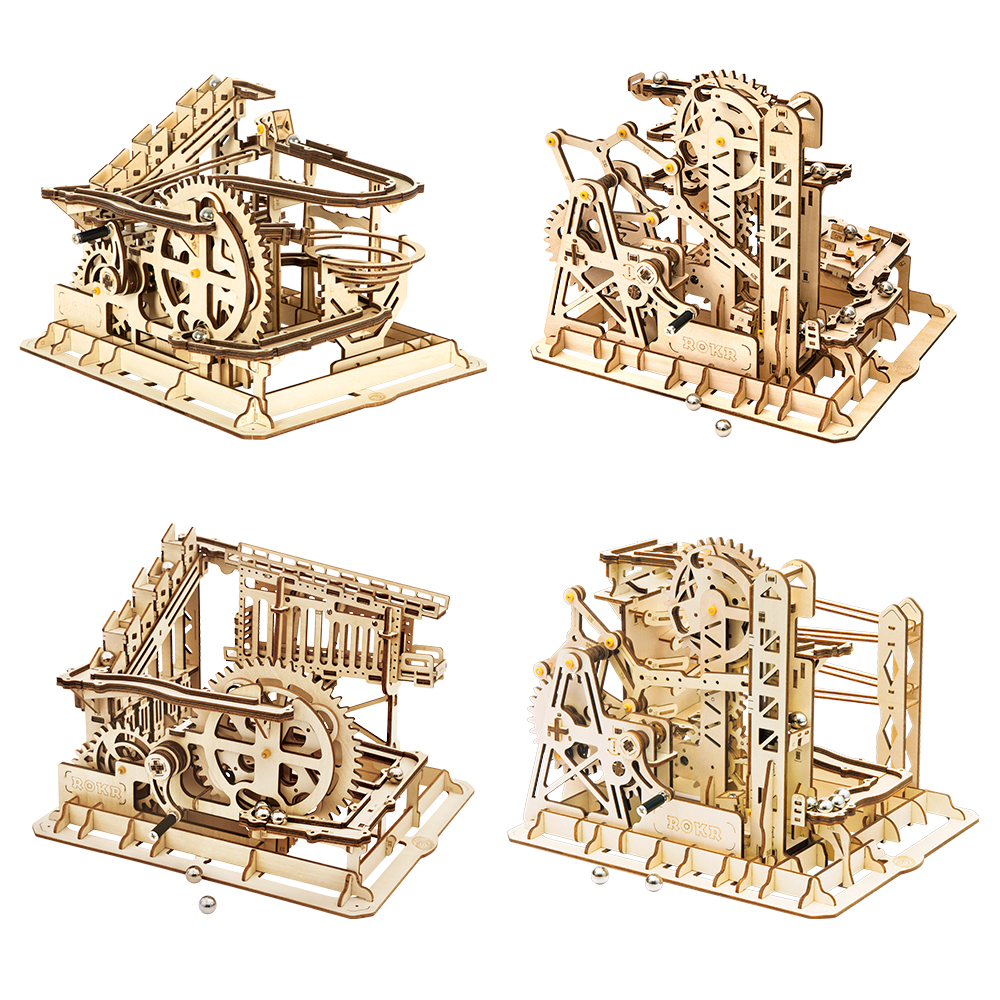 Robotime ROKR Marble Race Run Maze Balls Track DIY 3D Wooden Puzzle Coaster Model Building Kits Toys For Children Drop Shipping