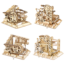 Robotime construcción de una montaña rusa para niños, ROKR, bloques, carrera, laberinto, bolas, pista, DIY, 3D, rompecabezas de madera, modelo, construcción, juegos, juguetes
