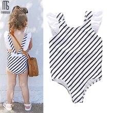 Manoswe Girls Swimsuit 2019 Summer Printed Striped Lovely Child Beachwear Swimwear Bathing Suits One-piece Children