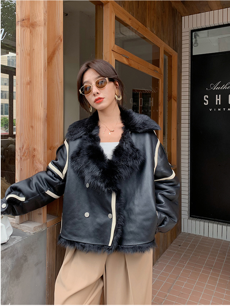 Rf2017 New Arrival Aviator Fashion Woman's Tuscany Sheep Shearling Coat Oversized Real Sheep Fur Genuine Leather Jacket