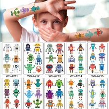10-Kinds-Robot Tattoos Body-Stickers Temporary Makeup Waterproof Children Cute Cartoon