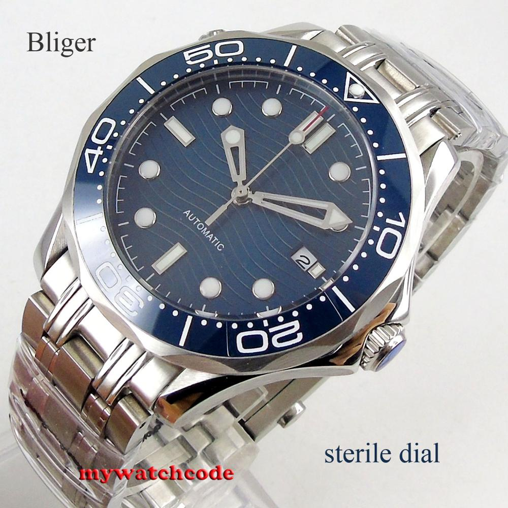 41mm Bliger Blue Sterile Dial Sapphire Glass Ceramic Bezel Stainless Steel Automatic Mens Watch B303